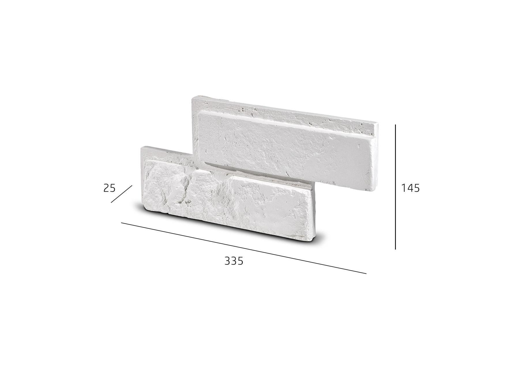 Cihlový obklad se spárou BOTIN bílá 335x145x25 mm Sádra  balení 0,46m2