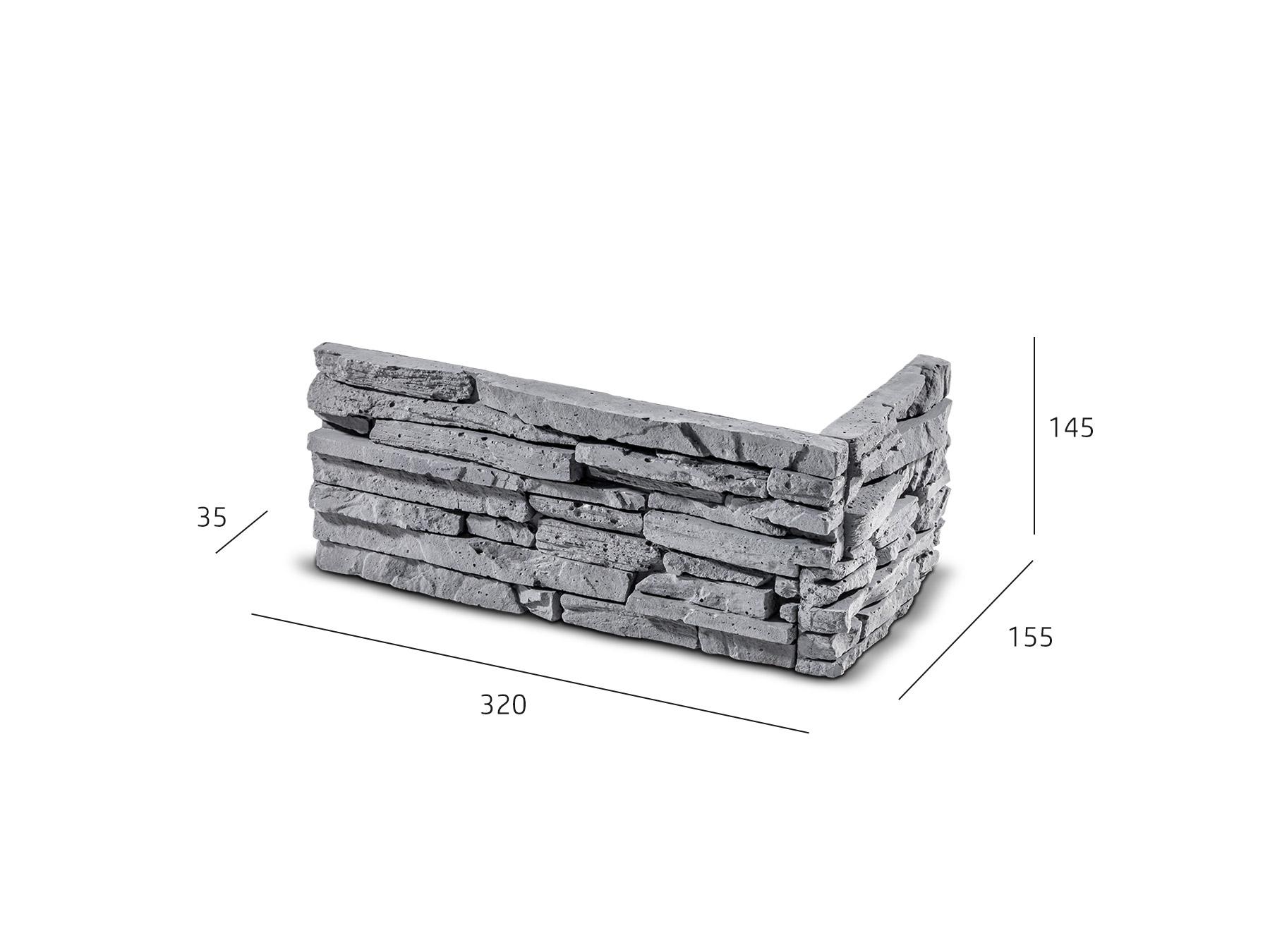 ROH Kamenný obklad CUBANA grafit 320x155x145x35 mm Beton balení 0,87bm