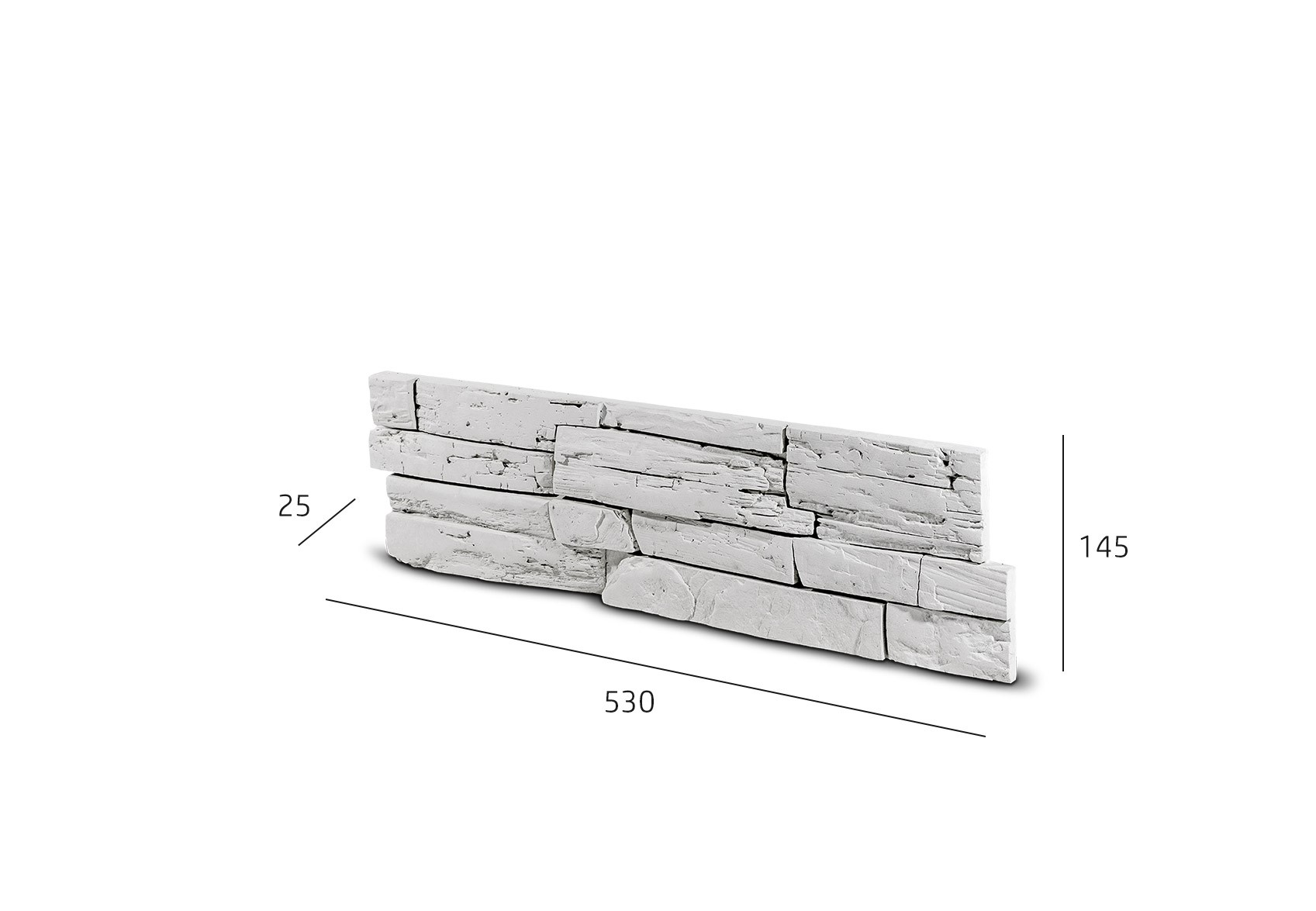 Kamenný obklad FASÁDA  bílý 530x145x25 mm Beton balení 0,46m2