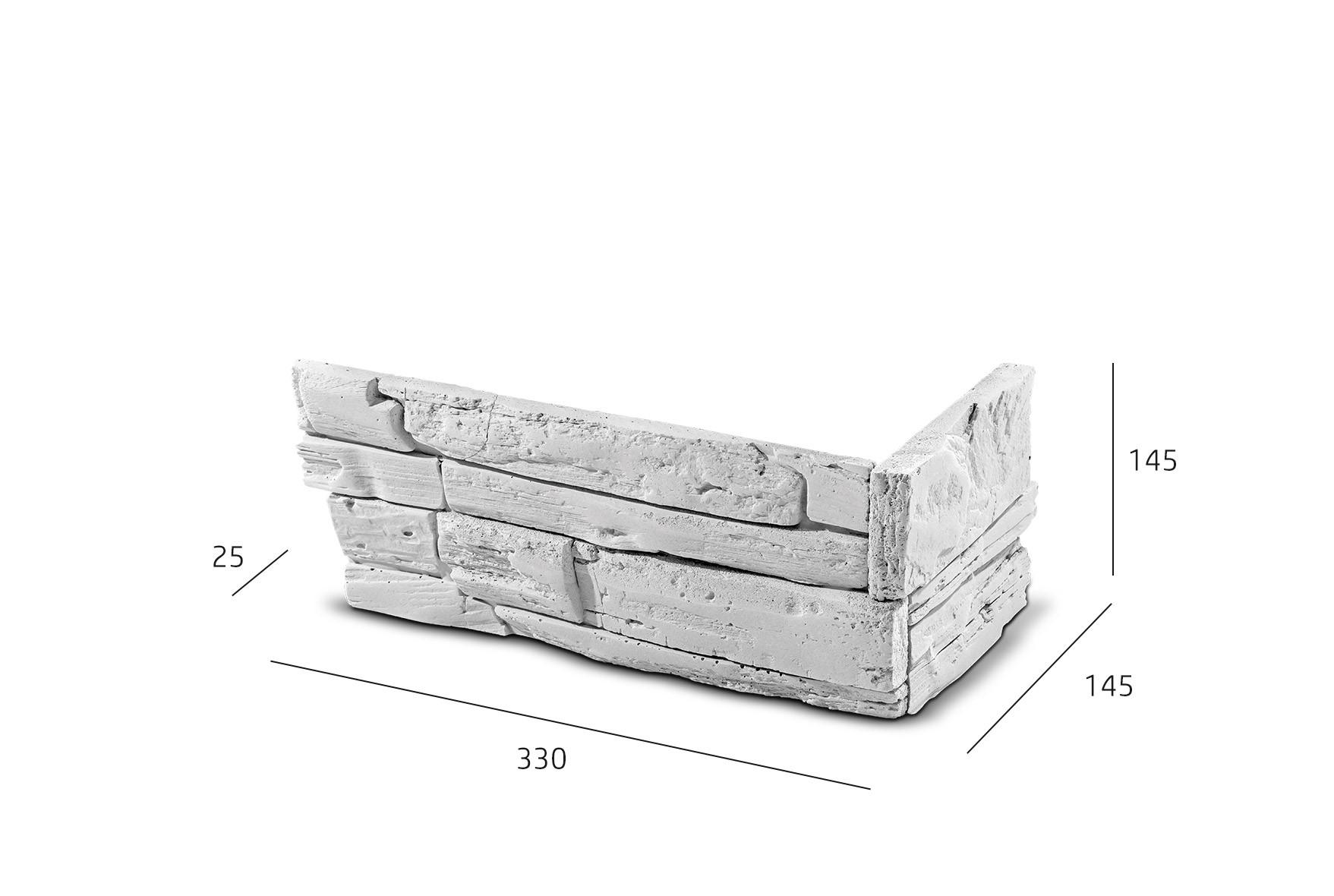 ROH Kamenný obklad FASÁDA  bílý 330x145x145x25 mm Beton balení 0,87bm