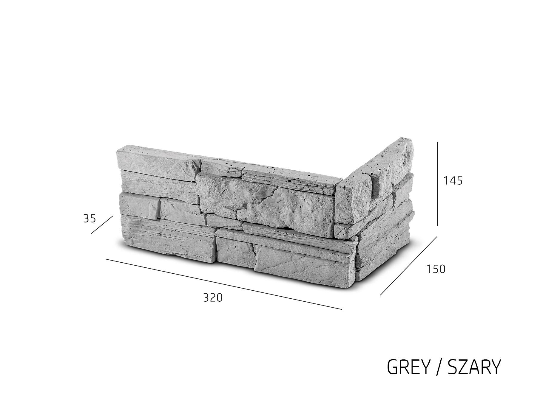 ROH Obkladový kámen MANUS šedá 320x150x145x35 mm Beton balení 0,87bm