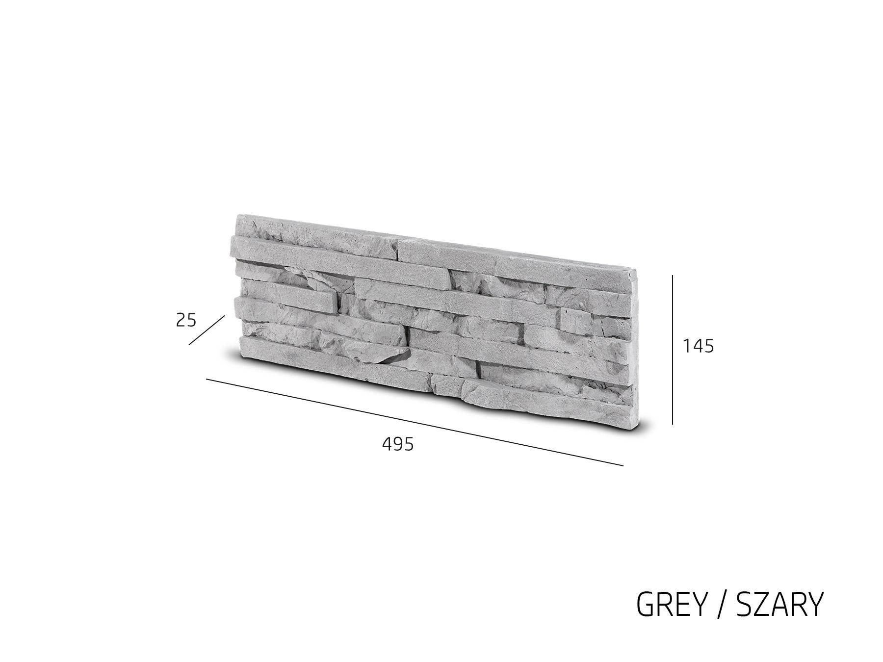 Obkladový kámen TEPIC šedá 495x145x25 mm Sádra balení 0,43m2
