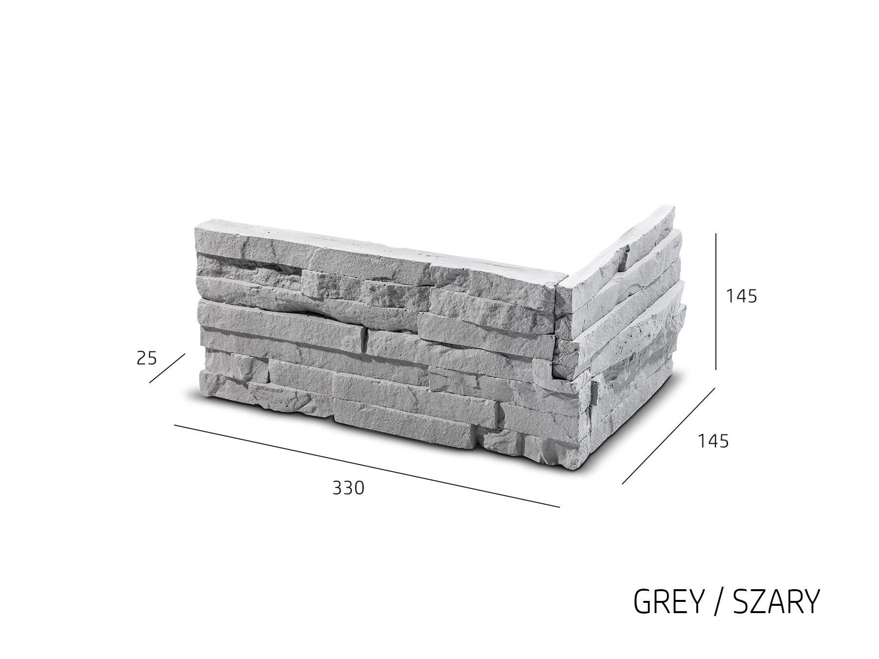ROH Obkladový kámen TEPIC šedá 330x145x145x25 mm Sádra balení 0,87bm